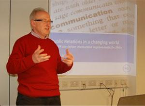 Philip presents a presentation on PR at Winchester BID