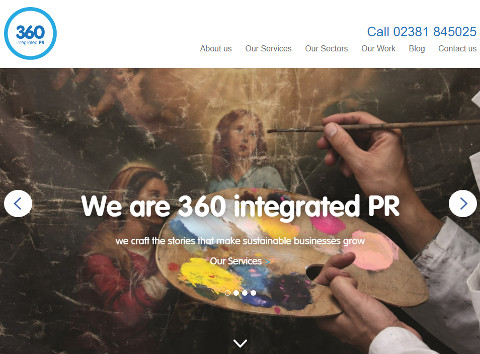 Screenshot of 360 Integrated PR's new website homepage