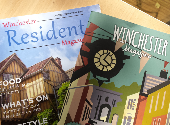 A photo of 'Winchester Magazine' and 'Winchester Resident' Magazine