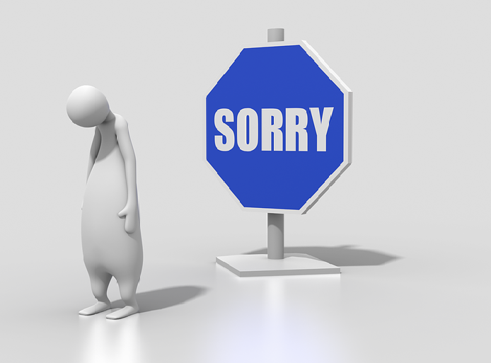 Illustration of man and sign saying sorry
