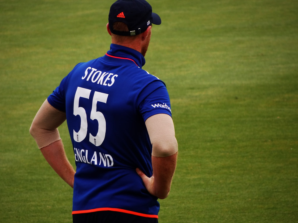 Ben Stokes rear view on cricket pitch
