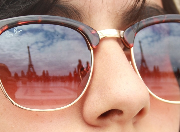Eiffel Tower reflected in sunglasses