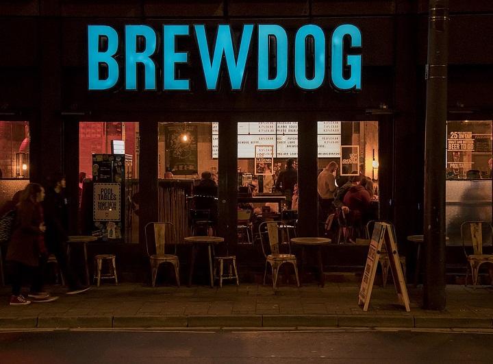 Brewdog bar at night